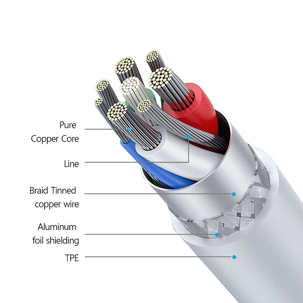 줄꼬임 방지 마이크로 5핀 고속 충전 케이블 Micro B
